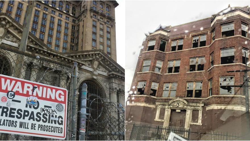 La antigua estación de tren de Detroit, a la izquierda, y una casa también abandonada. (Juan Luis Sánchez)