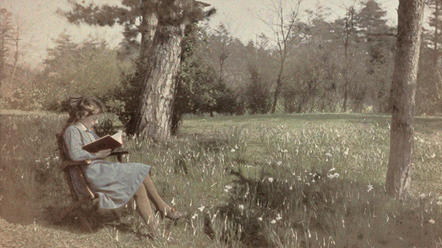 Joven leyendo sentada bajo un árbol. Fotografía anónima (Holanda, 1907).   Rijksmuseum