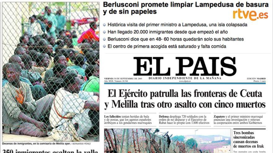 Algunas noticias y portadas de los últimos meses y años en relación a la llegada de inmigrantes a España
