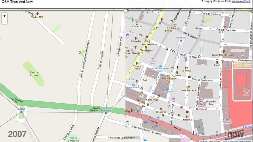 Madrid mapeado en 2007 y Madrid mapeado ahora