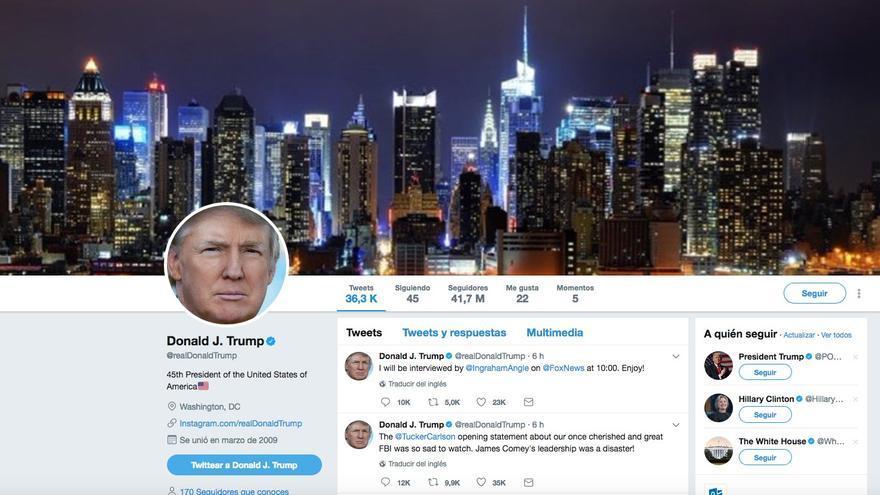 Captura del perfil de la cuenta personal de Donald Trump en Twitter.