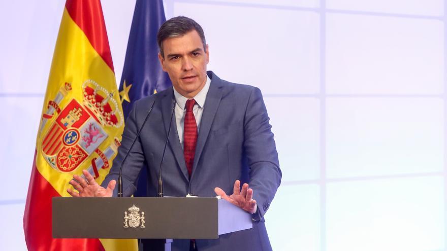 El presidente del Gobierno, Pedro Sánchez, interviene en la presentación en Moncloa del Proyecto Estratégico para la Recuperación y Transformación Económica (PERTE) del sector de la Automoción, a 12 de julio de 2021, en Madrid (España)