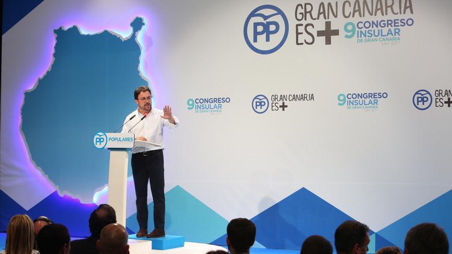 Asier Antona, durante el cierre del Congreso del PP de Gran Canaria