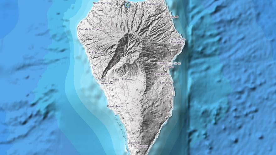 Mapa del IGN donde se indica el lugar donde se ha registrado, en el municipio de Garafñia, este lunes, el pequeño terremoto.