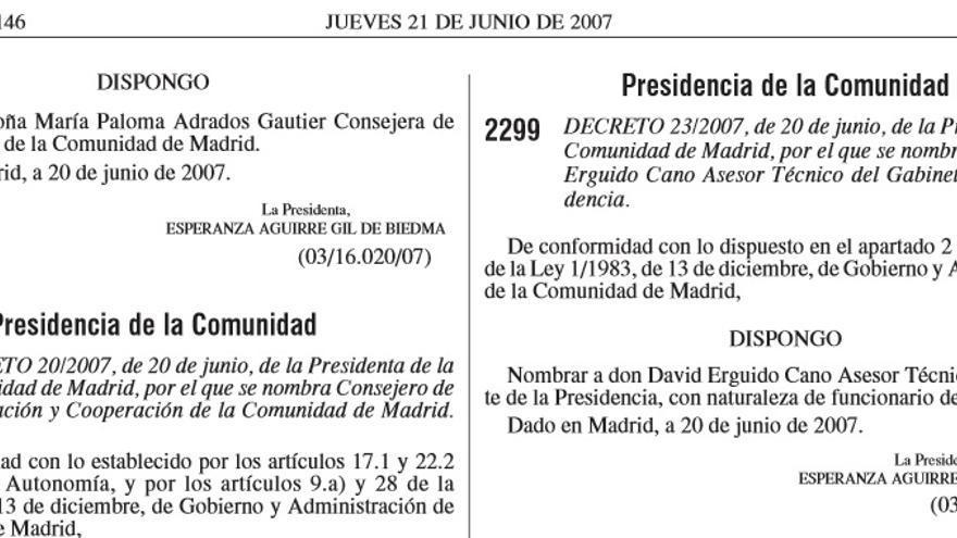 El nombramiento de David Erguido en el Boletín Oficial de la Comunidad de Madrid.