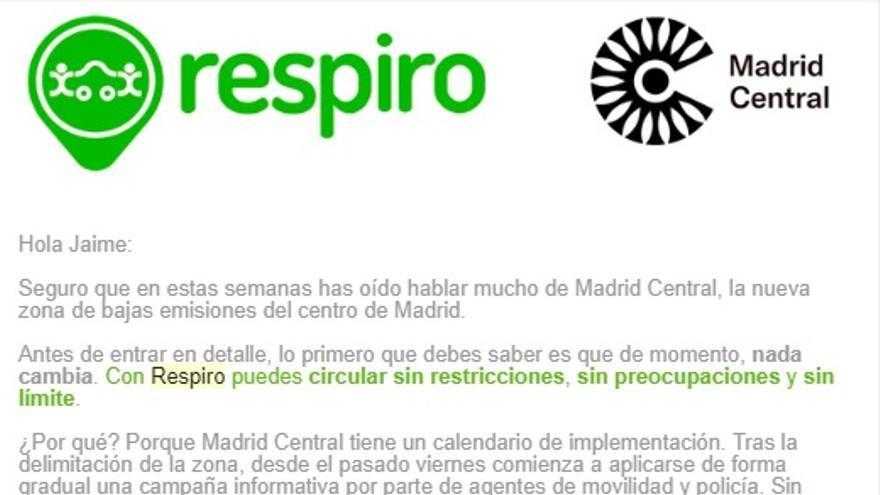 Correo electrónico enviado por Respiro a sus clientes tras la entrada en vigor de Madrid Central.