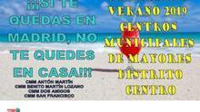 Cartel de la programación de verano de los centros municipales de mayores del distrito centro de Madrid.