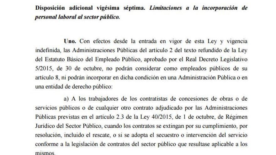 Disposición 27 de los Presupuestos Generales