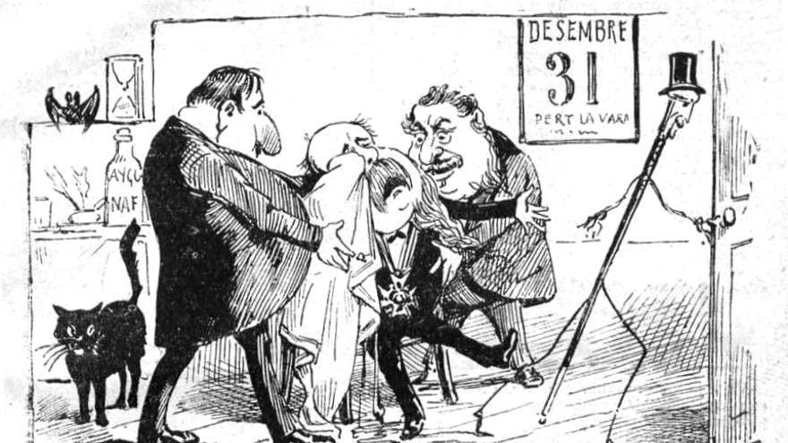 Caricatura de 1889 para despedir a la vara de medir (Imagen: Wikipedia)