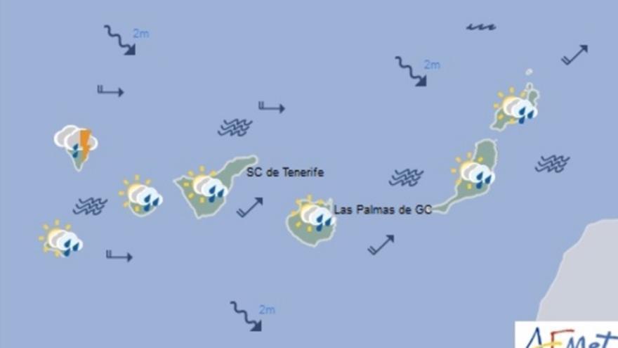 Mapa de la previsión meteorológica para el sábado 5 de noviembre