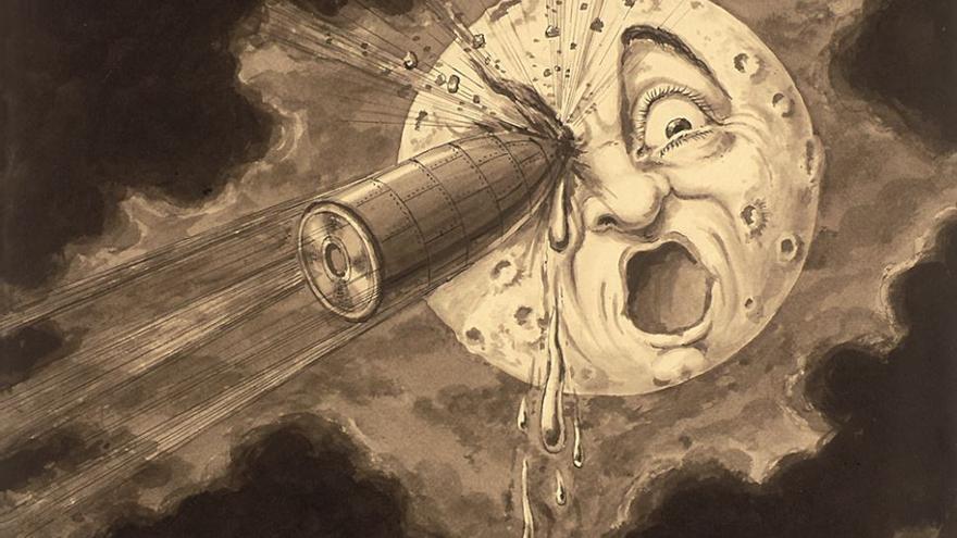Boceto de Georges Méliès para el impacto del proyectil en su película 'Viaje a la luna' (1902)