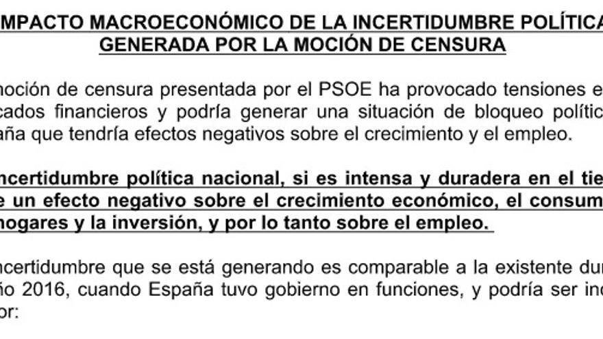 Fragmento del documento enviado por Moncloa, sin firma ni membretes oficiales, a varios medios de comunicación