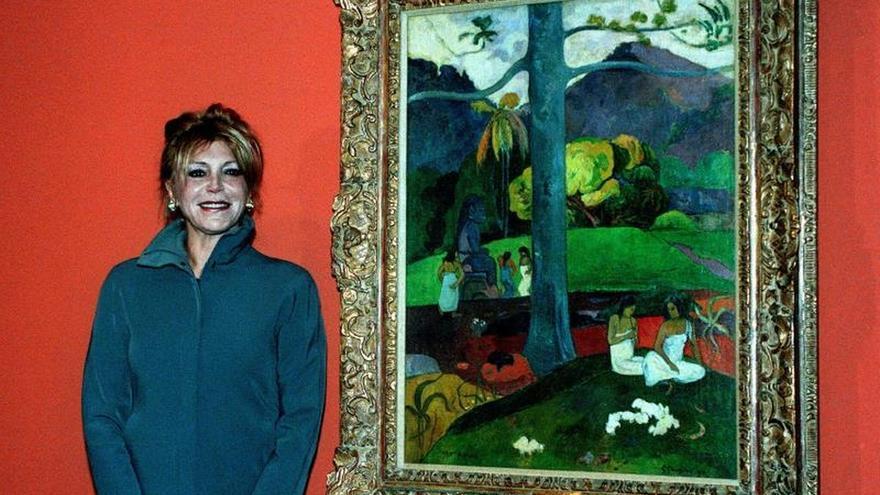 "La baronesa Carmen Cervera, posa ante el cuadro de Paul Gauguin ""Mata Mua"" ,EFE/J.M/JULIAN MARTIN/ma"