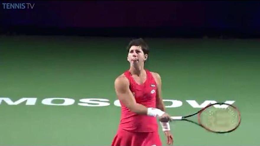 La tenista grancanaria Carla Suarez durante el torneo disputado en Moscú. (twitter oficial de Carla Suárez)
