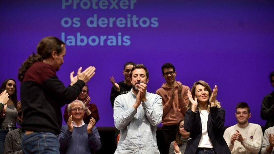 Pablo Iglesias, Antón Gómez-Reino y Yolanda Díaz, en el mitin celebrado en el Palexco de A Coruña