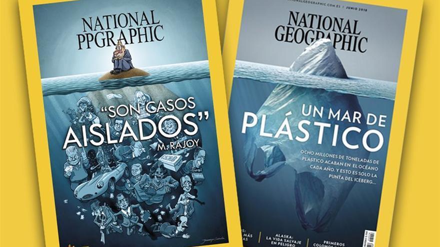 A la izquierda: póster central de la revista El Jueves. A la derecha: portada de National Geographic