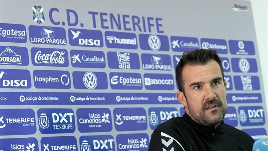 Aritz López Garai durante su rueda de prensa de este viernes, en la que habló del CD Tenerife-Racing del domingo.