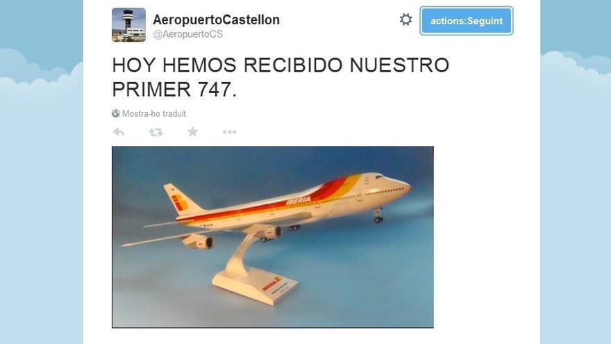 Uno de los tuits del 'fake' del Aeropuerto de Castellón