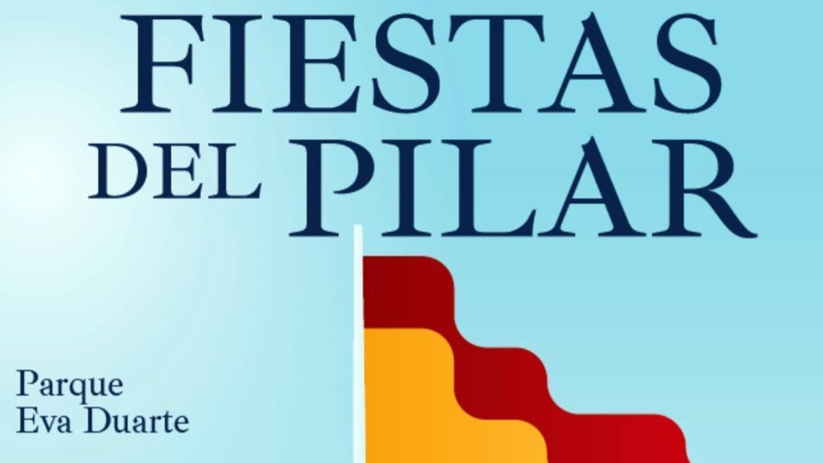 Detalle del cartel de las Fiestas del Pilar 2021 en el distrito de Salamanca