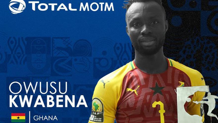 Owusu.el mejor jugador del partido en el Ghana-Mali de la Copa de África de Naciones sub-23.
