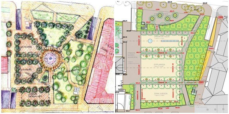 Proyecto O (izquierda) y la nueva propuesta del Ayuntamiento de Madrid para los Jardines del Arquitecto Ribera