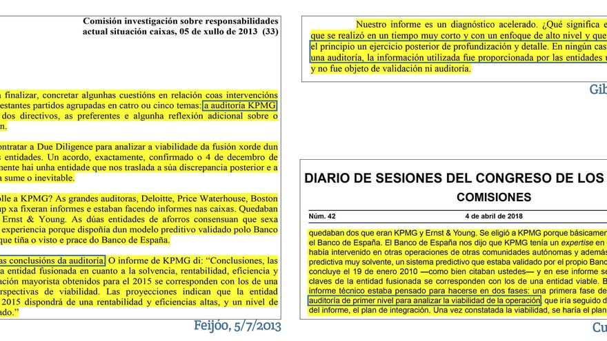 """Fragmentos de las transcripciones divulgadas por el PP, en las que Feijóo se refiere al informe como """"auditoría"""" y KPMG niega que lo sea"""