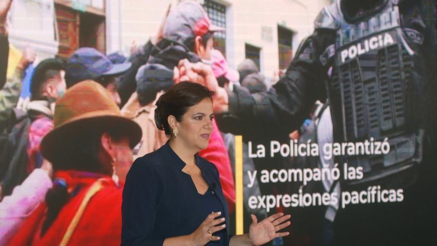 Ministra de Ecuador al borde de juicio político defiende la gestión de protestas