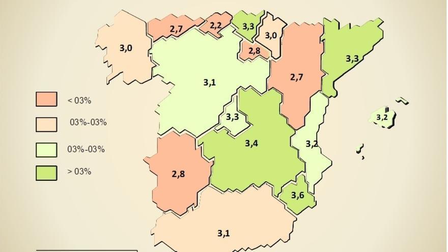 Cantabria será la comunidad que menos crecerá este año, un 2,2% según Ceprede