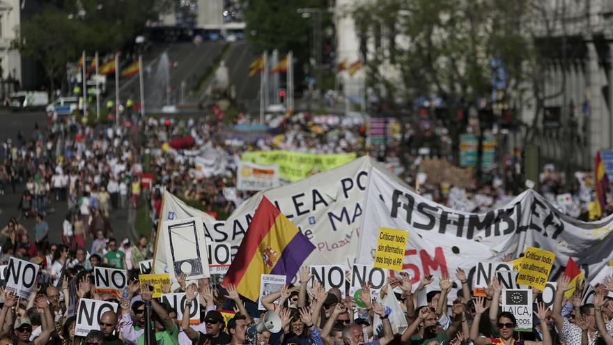 Miles de manifestantes han bajado por la calle Alcalá hasta Sol. / Fotografía: Olmo Calvo.