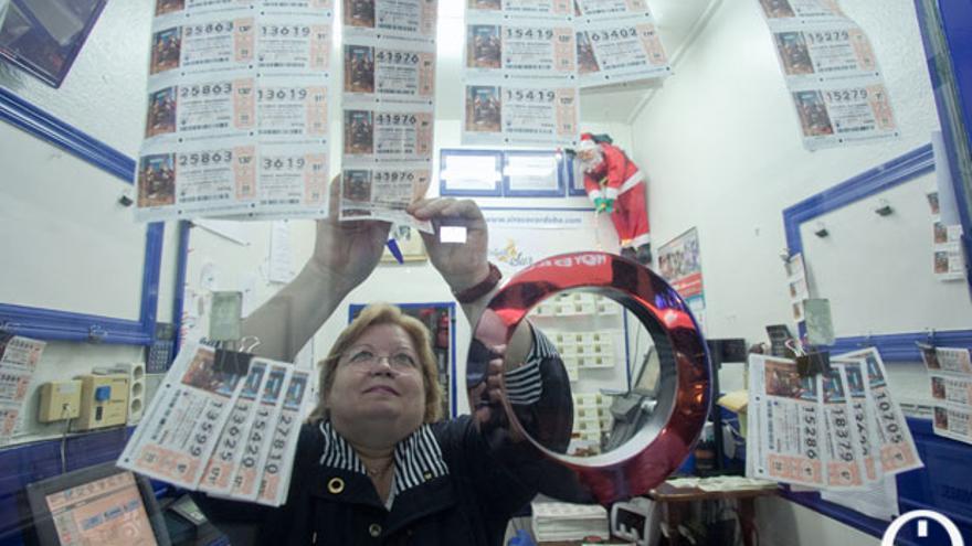 Vendedora de Lotería Nacional, en una imagen de archivo