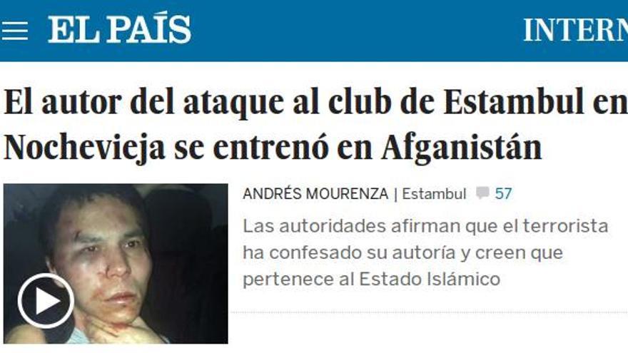 Noticia sobre el autor del atentado de Estambul publicada en El País.