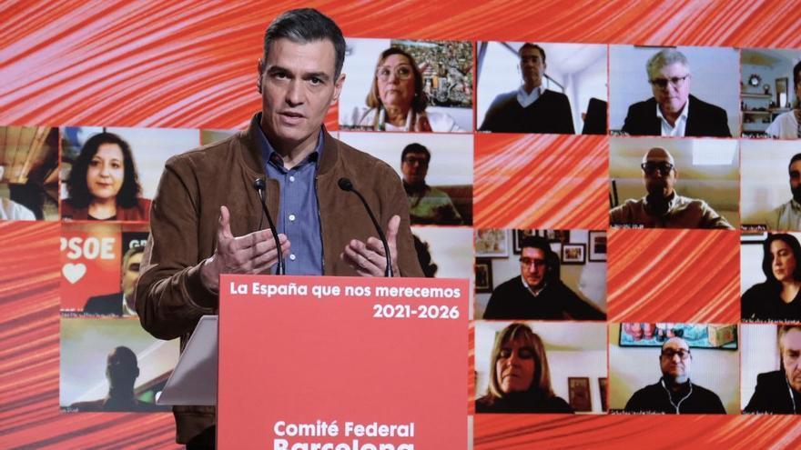 El presidente del Gobierno y secretario general del PSOE, Pedro Sánchez, en el Comité Federal del 23 de enero en Barcelona