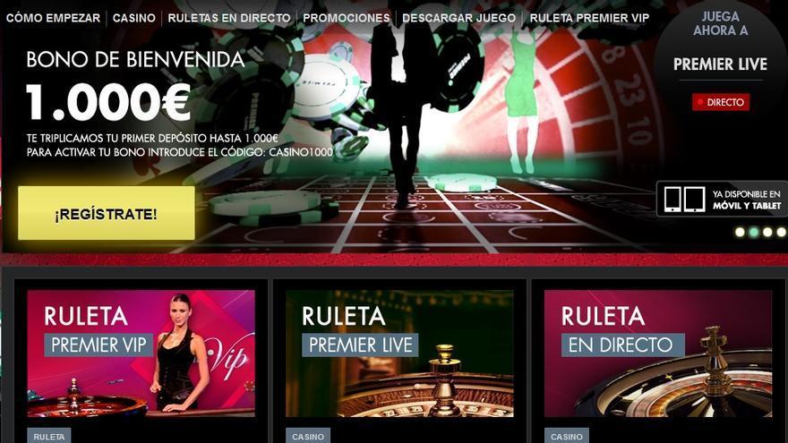 Página de un operador legal de juego online en España.