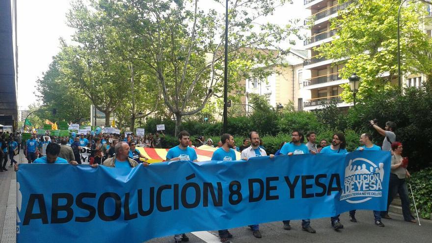 Imagen de archivo de una manifestación de apoyo a 'los 8 de Yesa'.