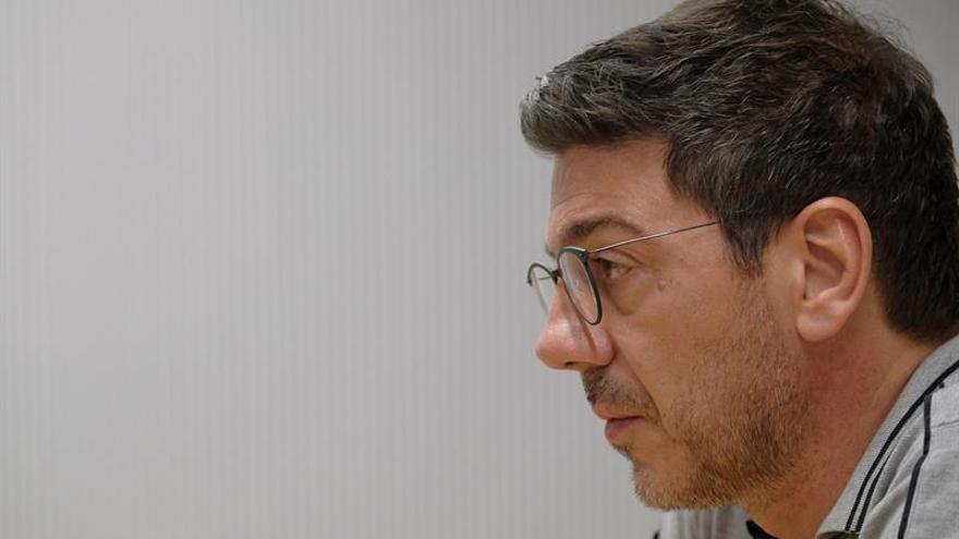 El entrenador griego Fotis Katsikaris durante su comparecencia de este viernes.