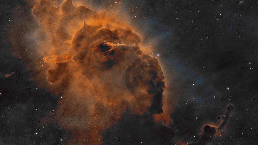 Imagen del pilar cósmico de polvo en la Nebulosa Carina,  de dos años luz de largo, dentro del cual está la  joven estrella Herbig-Haro 666. Crédito de la imagen:NASA,ESA,Hubble,HLA.Procesamiento:Domingo Pestana.