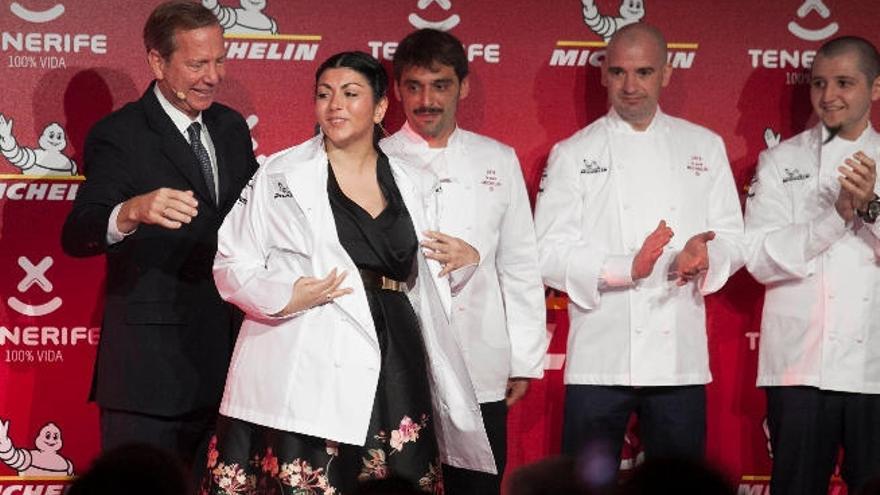 Fernanda Fuentes, del restaurante Nub, en la gala de la estrella Michelin, este miércoles en el Abama