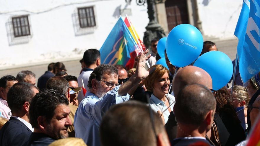 Rajoy y Cospedal en La Puebla de Montalbán (Toledo).
