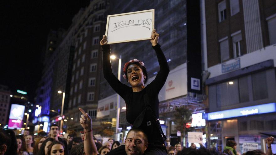Una mujer en la manifestación del Día Internacional de la Mujer.