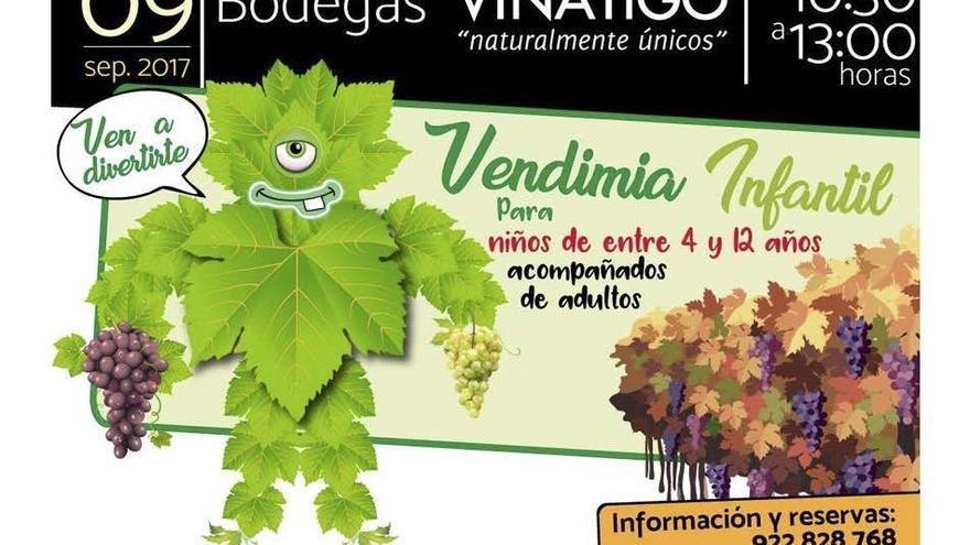 Cartel de la actividad de campo de este sábado, en Bodegas Viñátigo