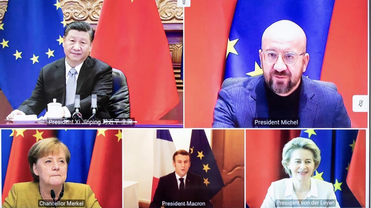 Reunión por videoconferencia celebrada el 30 de diciembre entre Charles Michel, Ursula von der Leyen, Angela Merkel, Emmanuel Macron y Xi Jinping.