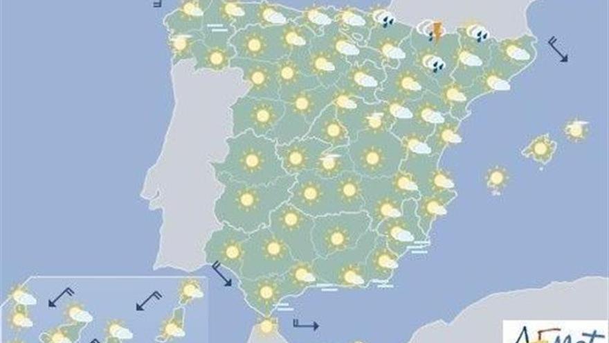 Hoy, chubascos fuertes en Cataluña, norte Aragón y sur del Sistema Ibérico