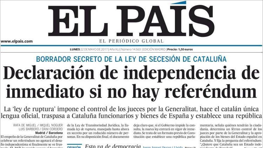 Portada El País 22/05/17
