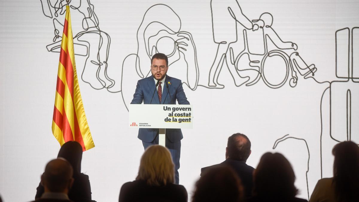 El líder de ERC ha pronunciado su discurso en el Espai Serrahima de Barcelona