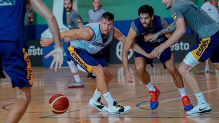 Beirán y Rabaseda, en un entrenamiento con la selección española