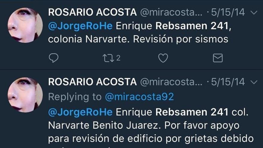 Rosario Acosta denunció en Twitter la situación