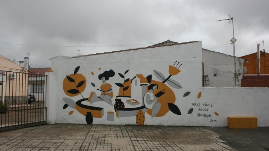 Mural colectivo elaborado en Villar de Rey