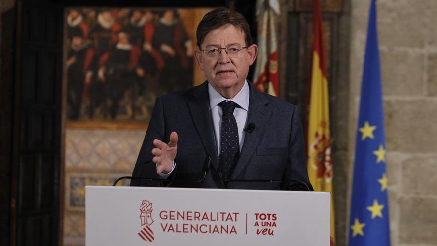 El 'president' de la Generalitat, Ximo Puig, durante el mensaje institucional pronunciado este domingo