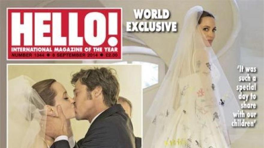 El vestido de novia de Angelina Jolie: diseñado por Versace y pintado por sus hijos