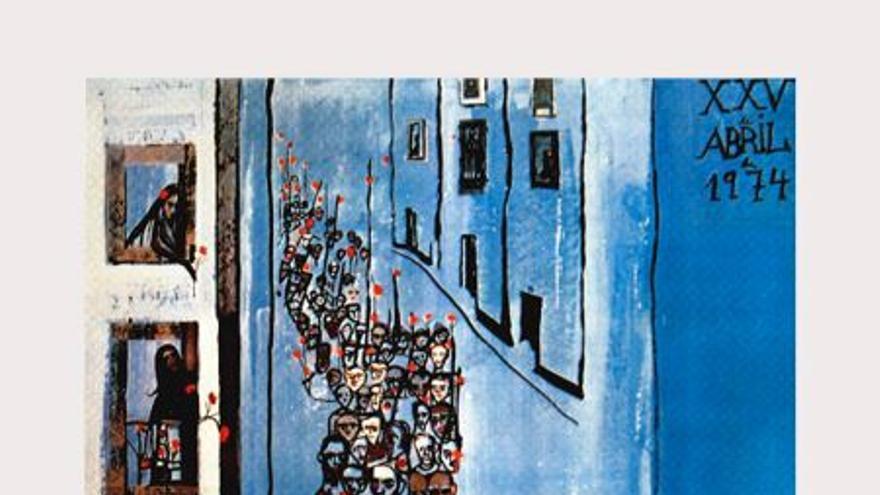 "Cartel sobre el 25 de Abril 1974 de Maria Helena Vieira da Silva titulado ""A Poesia Está na Rua"""